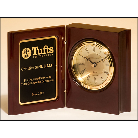 High gloss rosewood piano-finish book clock with diamond-spun dial and three hand movement.