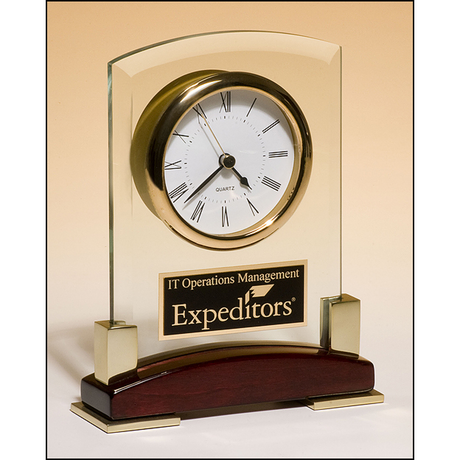 Beveled glass desktop clock, rosewood piano-finish base with gold metal accents.