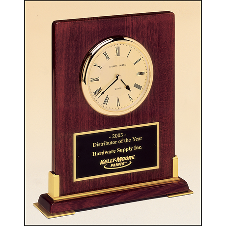 Desktop clock rosewood stained piano finish wood with gold metal accents.