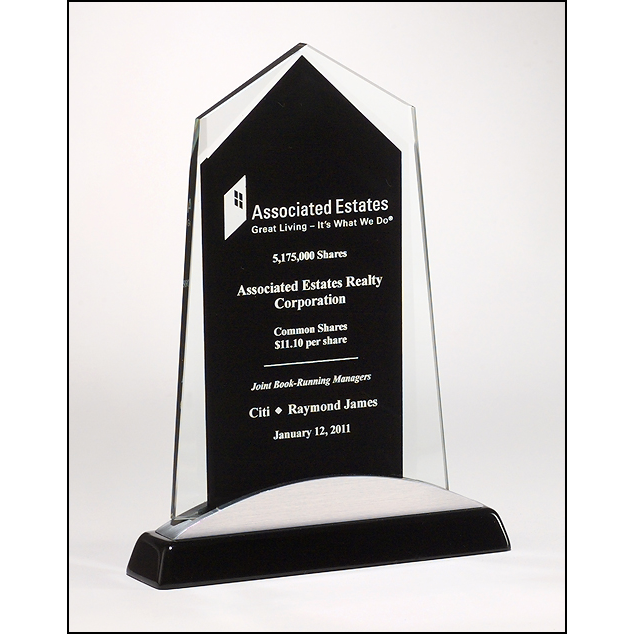 Apex Series glass award black piano-finish base with silver aluminum accent.