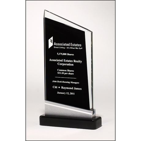 Zenith Series glass award black piano-finish base with silver aluminum accent.