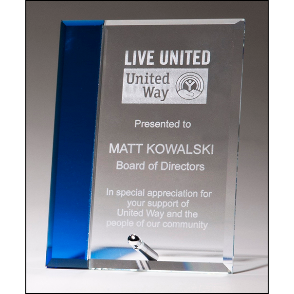 Clear glass award with sapphire blue highlight, silver plated easel post.