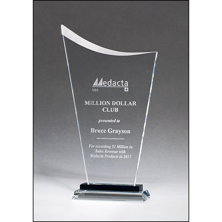 Contemporary Clear Glass Award with Pedestal Base.