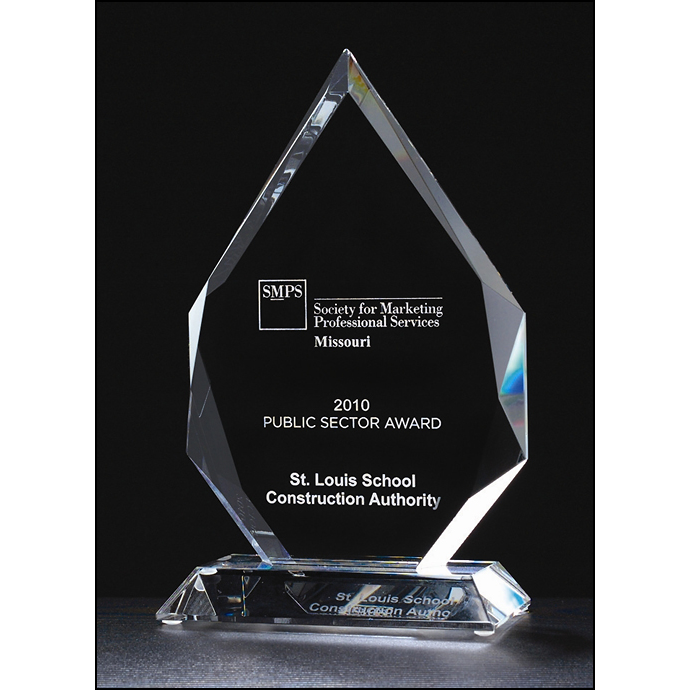 Flame Series multi-faceted crystal award.