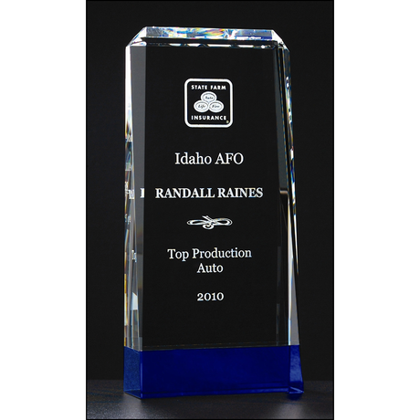 Premium Series clear crystal trophy with cobalt blue crystal base.