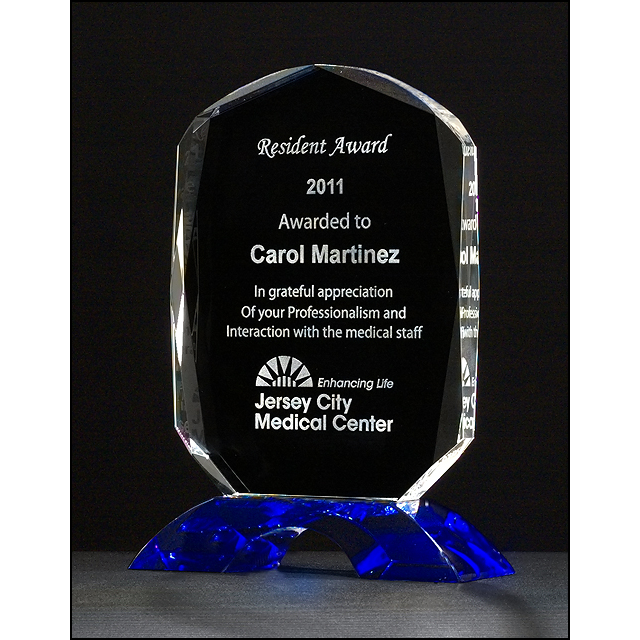 Diamond Series clear crystal award with cobalt blue crystal base.