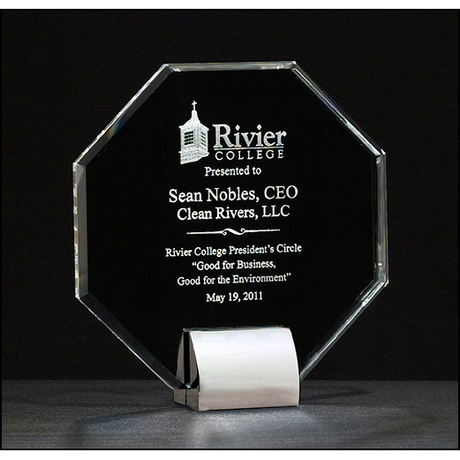 Octagon Series Crystal award with chrome-plated metal base.