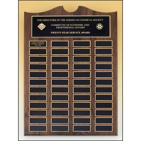 Roster Series - Traditional American walnut plaque with extra large individual plates.