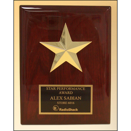 Star casting with gabled points Goldtone finish on rosewood piano-finish plaque.