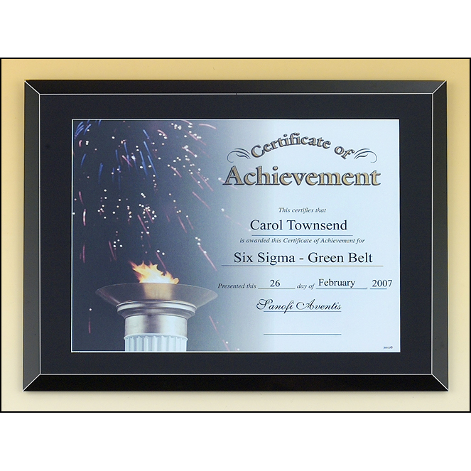 Black glass certificate plaque with easy open and close backing.