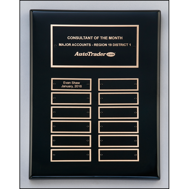 Black stained piano finish perpetual plaque with 2 plate combinations