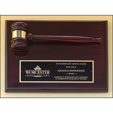 Rosewood stained piano finish gavel plaque.