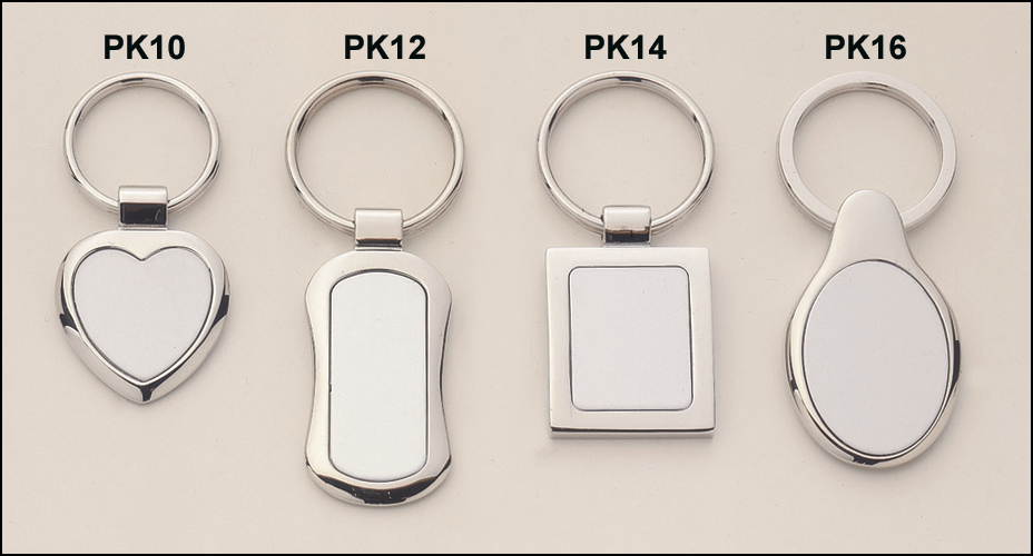 Polished silver keyring with matte silver engravable aluminum insert.