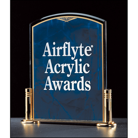 "Marble Design Series 3/16"" thick sapphire acrylic award on a gold metal base with columns."