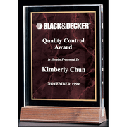 "Marble Design Series 3/4"" thick polished acrylic award with marble center on a solid American walnut base."