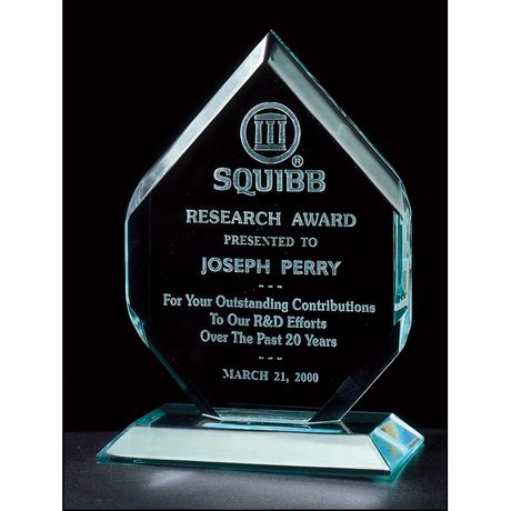"Flame Series 3/4"" thick polished acrylic award on acrylic base."