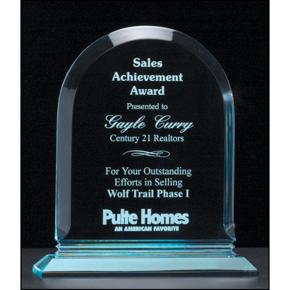 "Arch Series 3/4"" thick polished acrylic award on acrylic base."