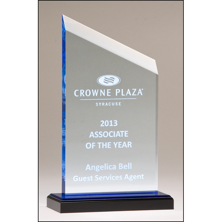 Zenith Series acrylic award. Clear upright with blue accents, black acrylic base with blue mirror top.