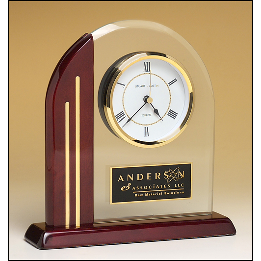 Arch clock with glass upright and rosewood piano-finish post and base.
