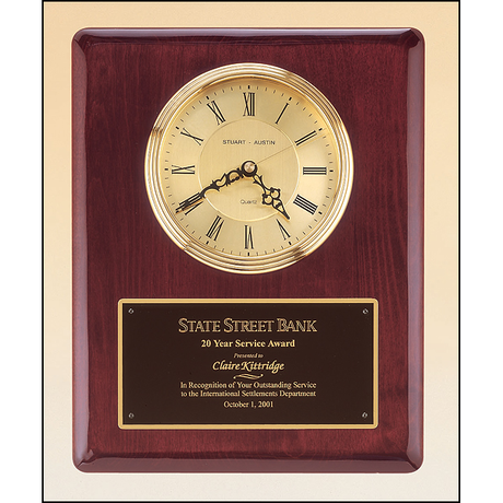 Rosewood stained piano finish vertical wall clock.