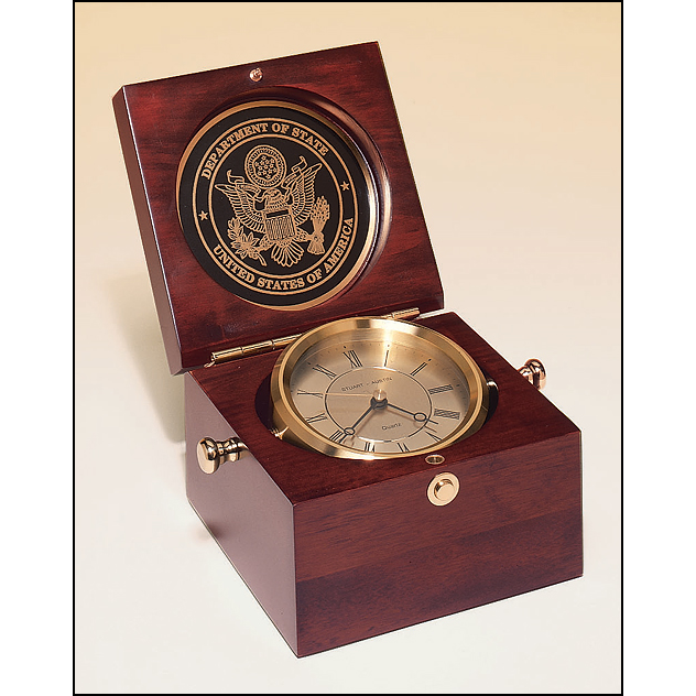 Captain's Clock with solid brass clock housing in a hand rubbed mahogany-finish case.