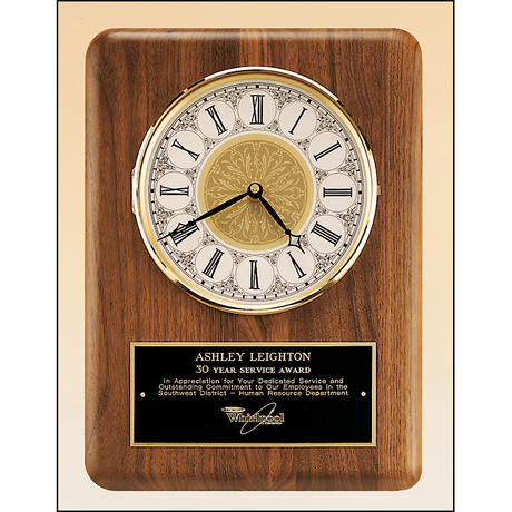 American walnut vertical wall clock.
