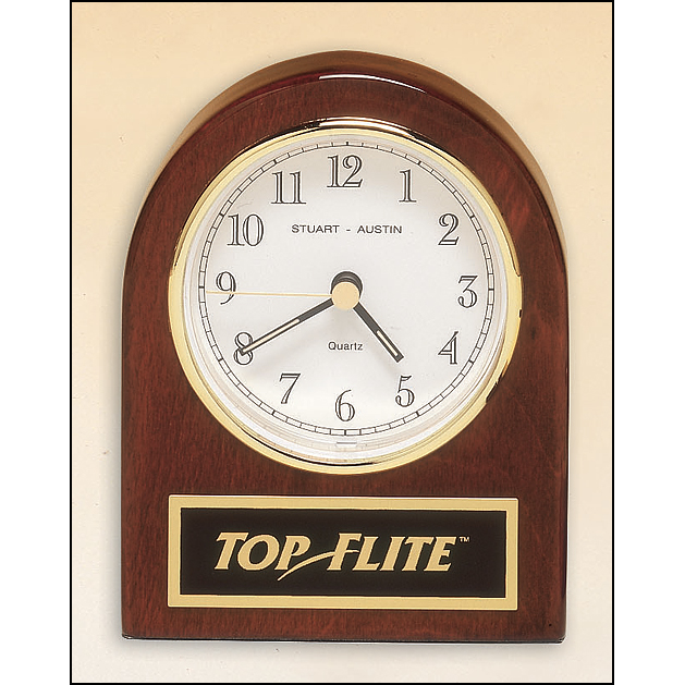 Rosewood Stained Piano Finish Desk Clock With Three Hand Movement