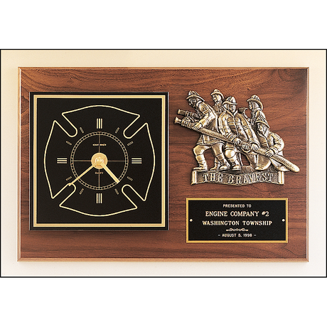Firematic award with antique bronze finish casting and clock.