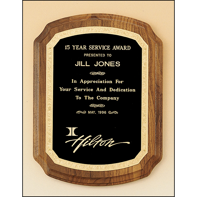 American walnut plaque with new border design.