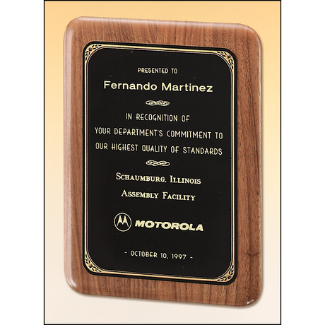 Solid American walnut plaque with a precision elliptical edge and a black or brushed brass plate with printed border.