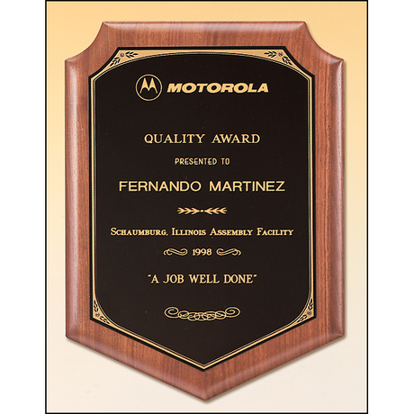 Solid American walnut plaque with a black brass plate with printed border.