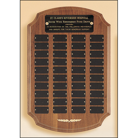Perpetual plaque with 40 black brass plates.