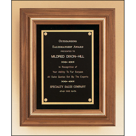 Solid American walnut framed plaque with gold trim and choice of velour background.