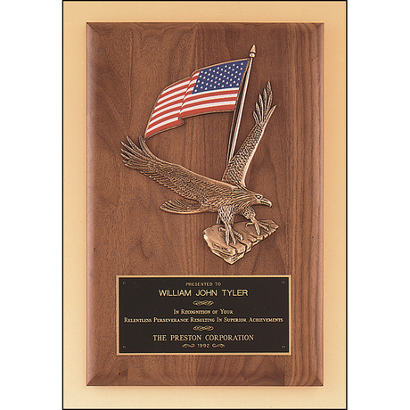 Solid American walnut plaque with a large eagle and American flag casting.
