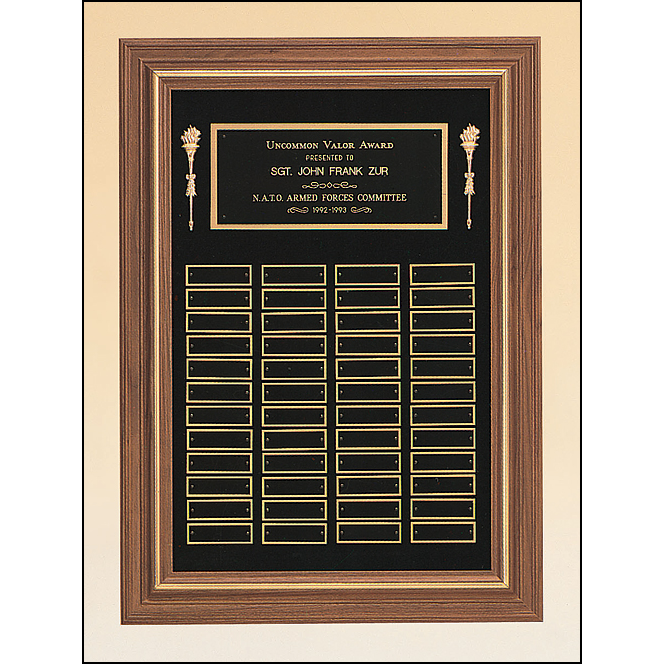 Perpetual plaque with 3 plate combinations and a solid American walnut frame on a black velour background.