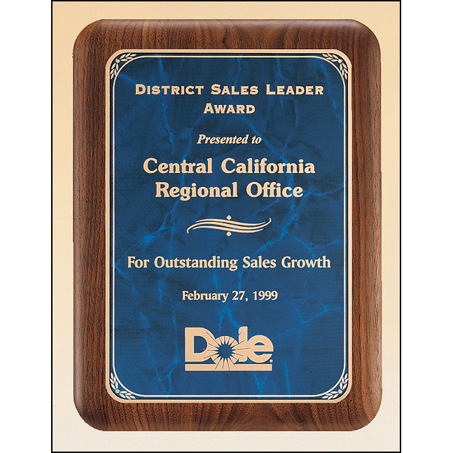 Solid American walnut plaque available in three sizes and two marble finishes.