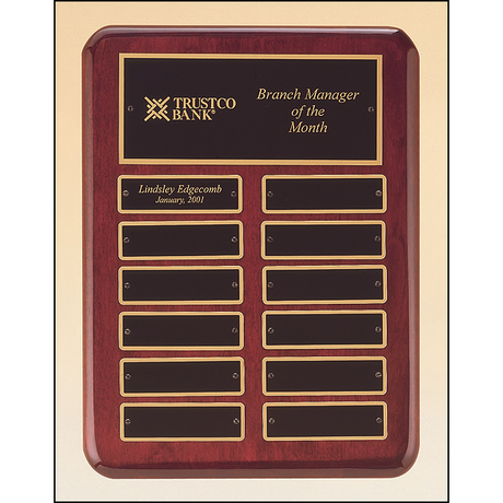 Rosewood stained piano finish perpetual plaque with 2 plate combinations.