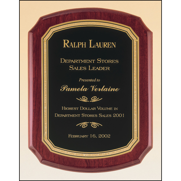 Rosewood stained piano finish plaque with a black textured center plate and florentine border.