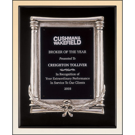 Black stained piano finish plaque with an antique silver finished frame casting and black aluminum engraving plate.