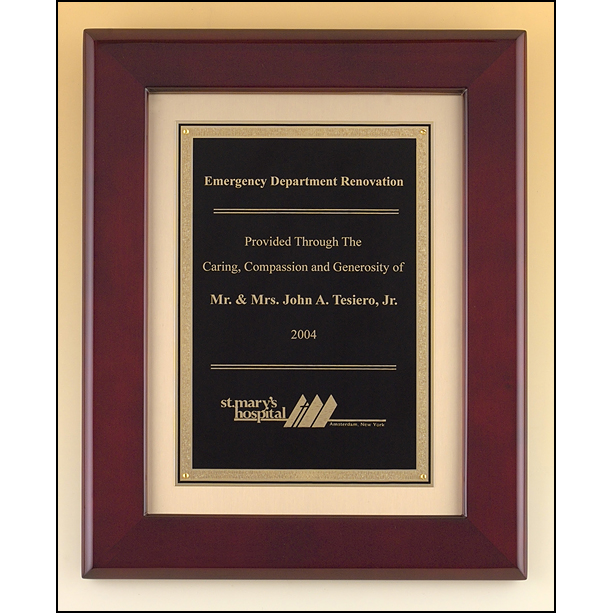 Rosewood stained piano finish frame with black brass engraving plate on brush gold metal background.