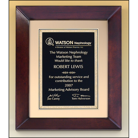 Cherry finish frame plaque with black and gold florentine plate on brushed metal gold background.