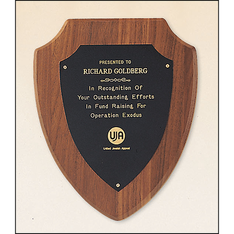 American walnut plaque with a black brass plate.