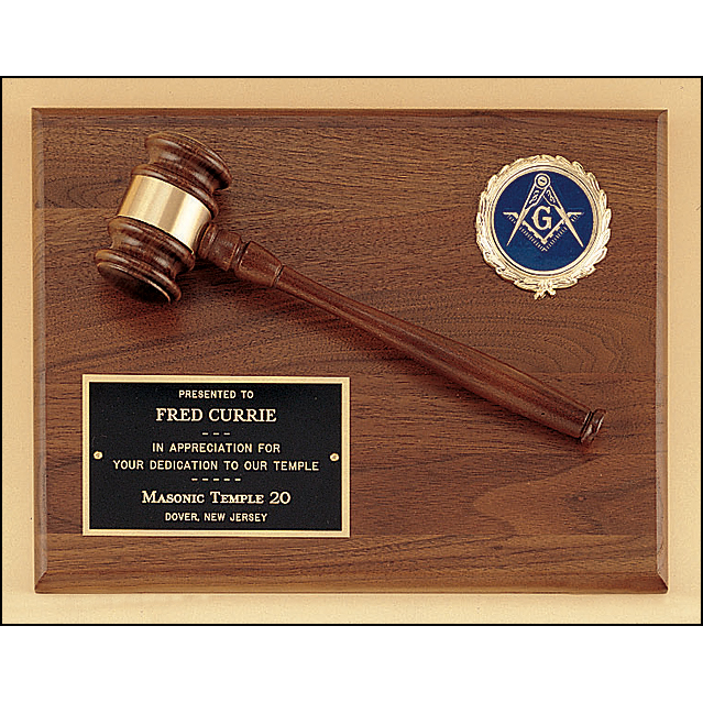 American walnut plaque with walnut gavel and activity insert.