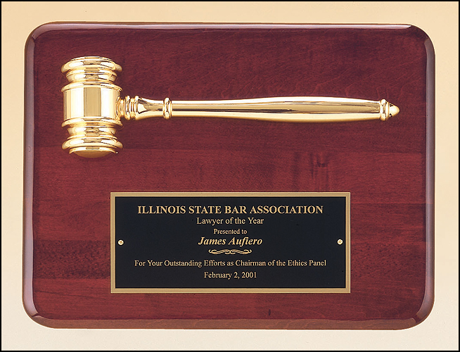 Rosewood stained piano finish plaque with a gold electroplated metal gavel.