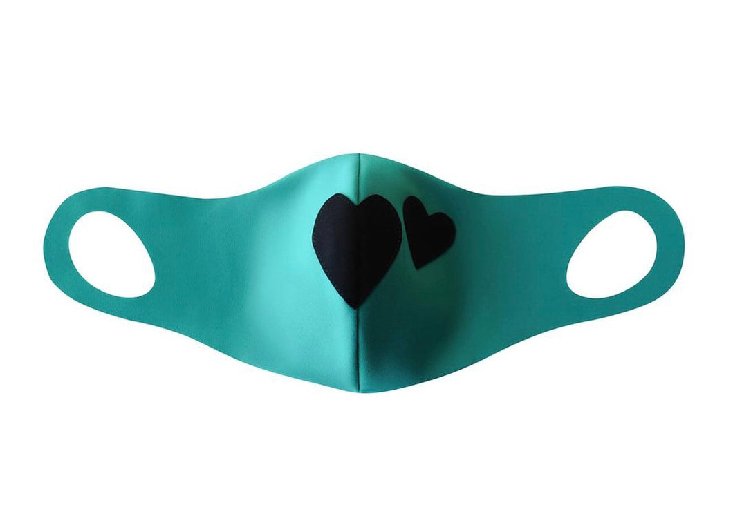Teal Face Mask with Black Hearts and Filter Pocket