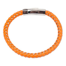 MONACO Men's Burnt Orange Men's Genuine Leather Woven Bracelet