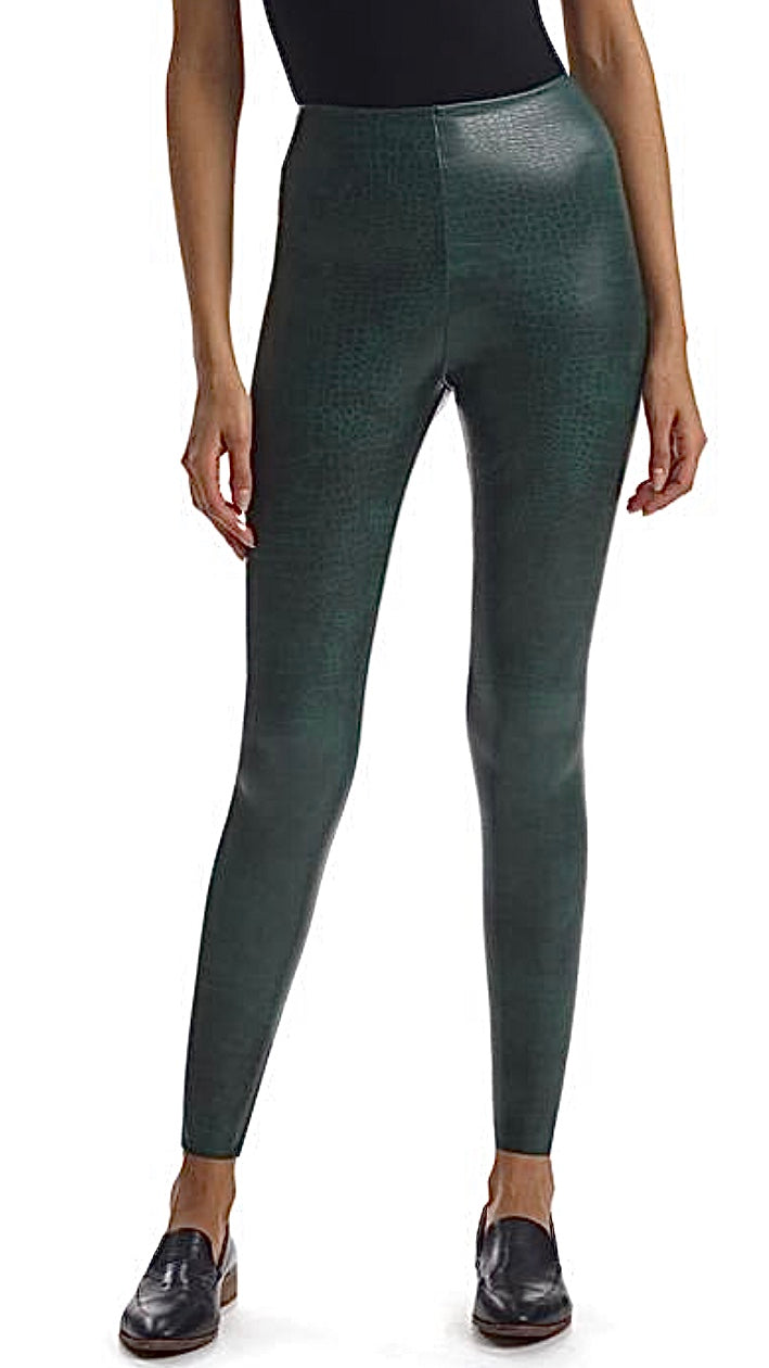 Green Faux Leather Croco Leggings