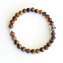 SKULL TIGER EYE Men's Essential Beaded Stretch Bracelet
