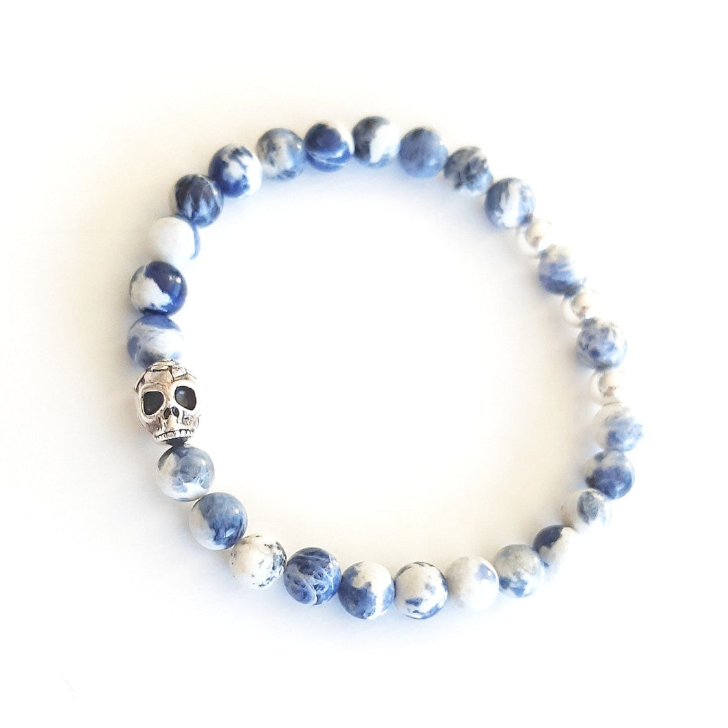 SKY SKULL Men's Essential Beaded Stretch Bracelet