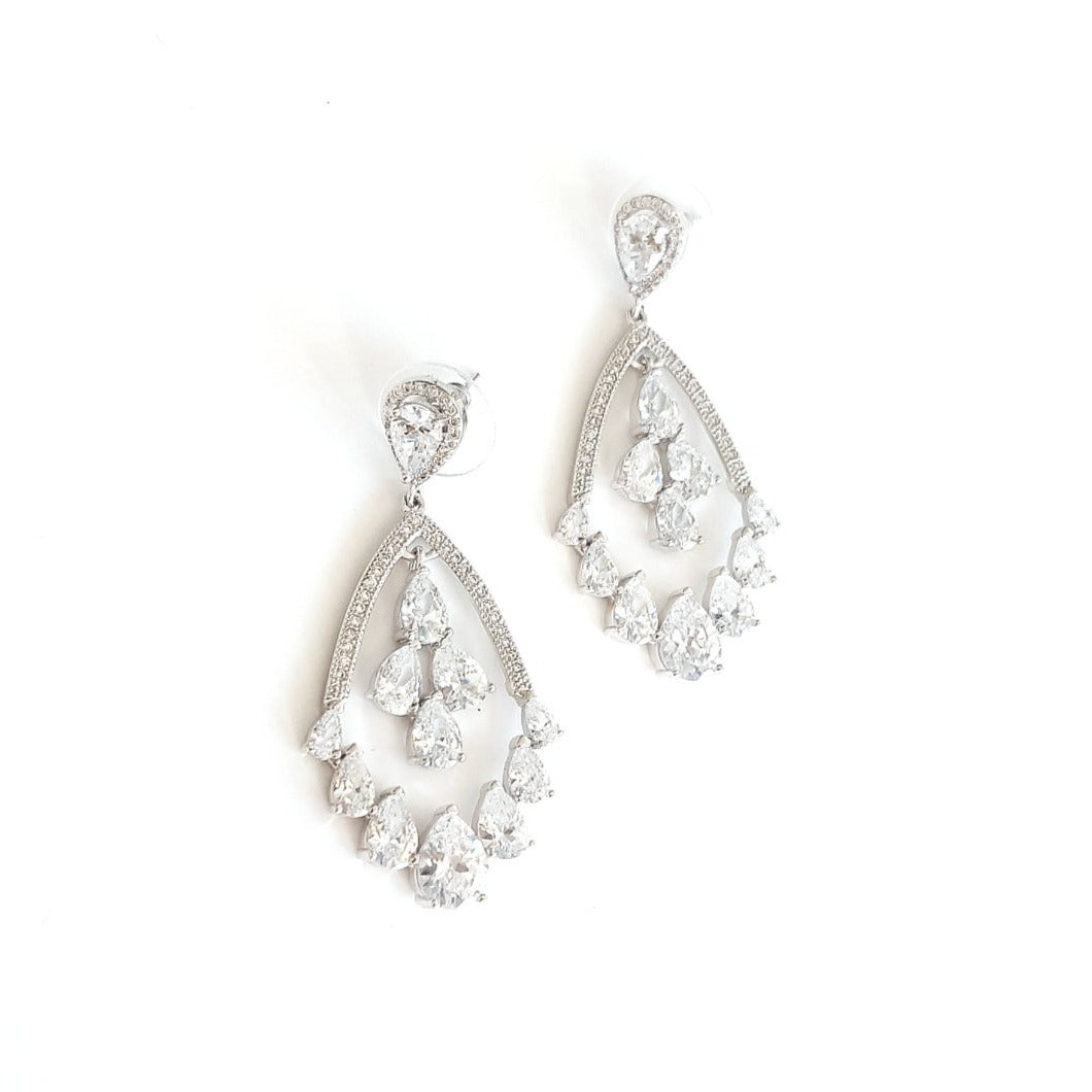 NELLA Crystal Chandelier Silver Earrings